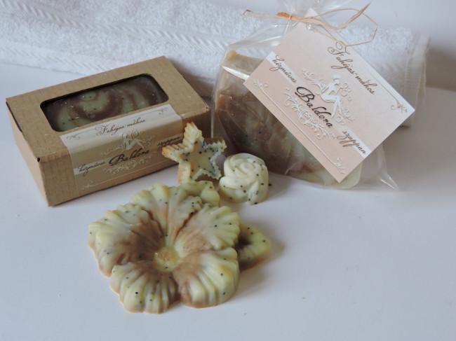 Különleges formájú fahéjas-mákos szappan